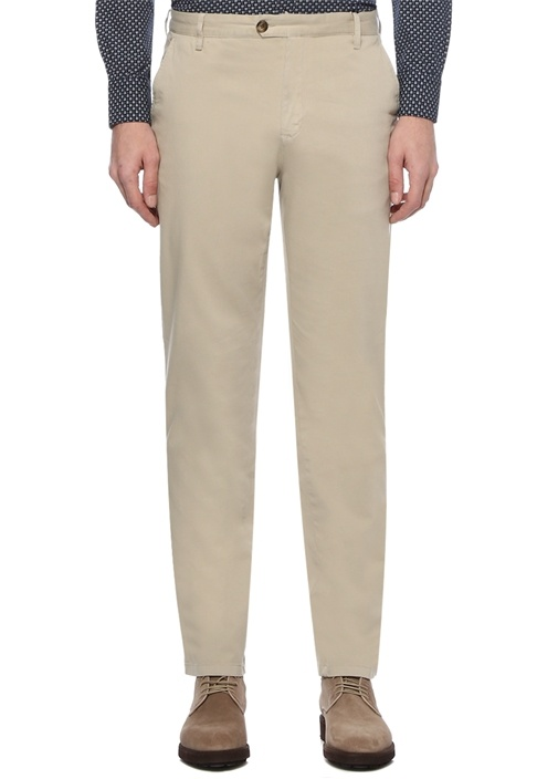 Regular Fit Bej Normal Bel Dokulu Chino Pantolon