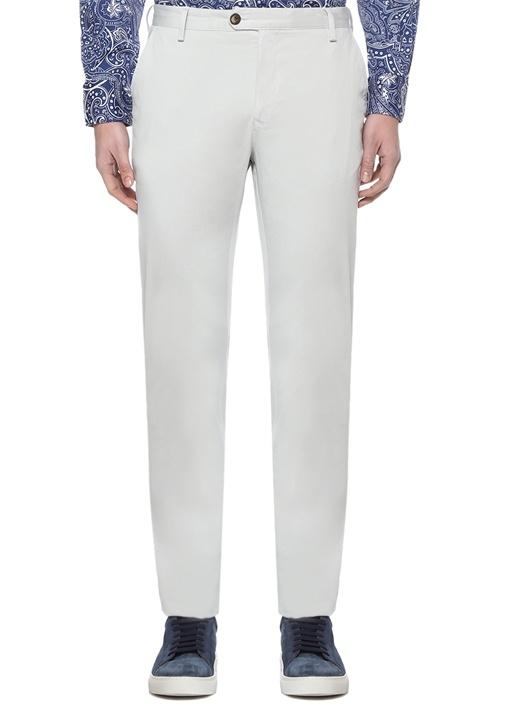 Slim Fit Gri Normal Bel Dokulu Chino Pantolon