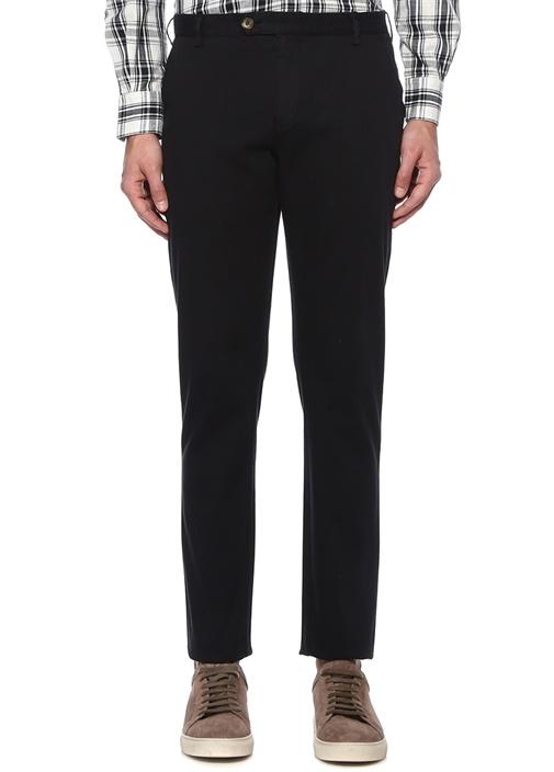 Slim Fit Siyah Normal Bel Dokulu Chino Pantolon