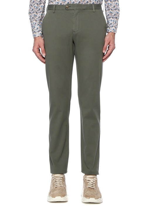 Slim Fit Haki Normal Bel Dokulu Chino Pantolon