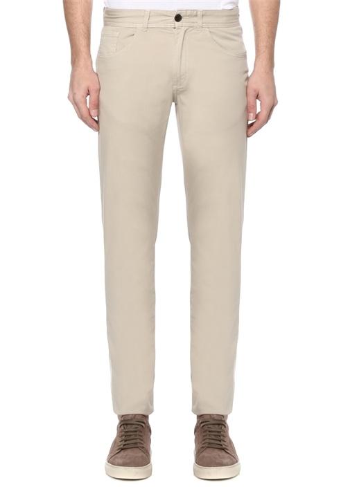 Slim Fit Bej Twill Pantolon