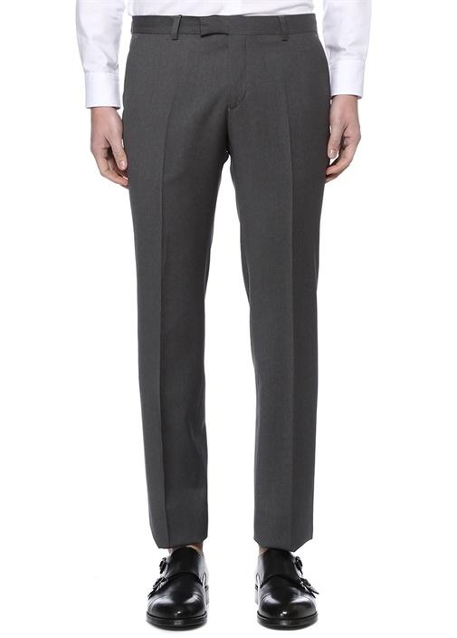 Gri Normal Bel Dar Paça Klasik Yün Pantolon