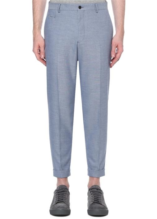 Mavi Normal Bel Havuç Formlu Duble Paça Pantolon