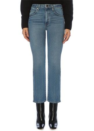 Khaite Kadın Vivian Yüksek Bel Boru Paça Crop Jean Pantolon Lacivert 26 US female