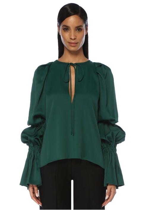 Cortez Yeşil Yakası Bağcıklı Balon Kol Bluz