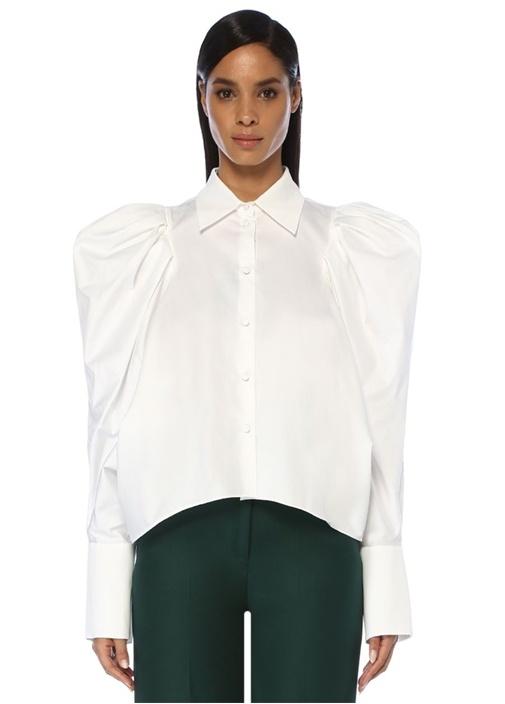 Brianne Beyaz Balon Kol Poplin Gömlek