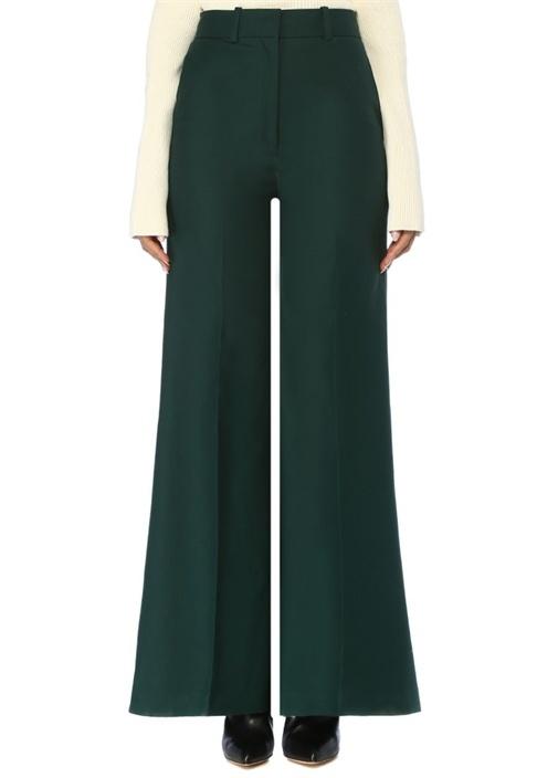Bernadette Yeşil Yüksek Bel Bol Paça Pantolon