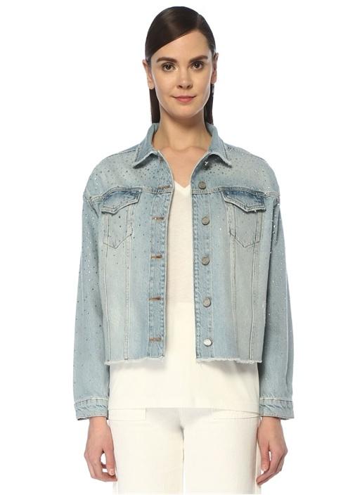 Taş Baskılı Püskül Detaylı Jean Ceket