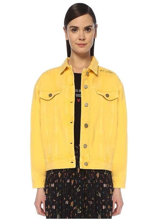 Sarı Omzu Nakış Detaylı Jean Ceket