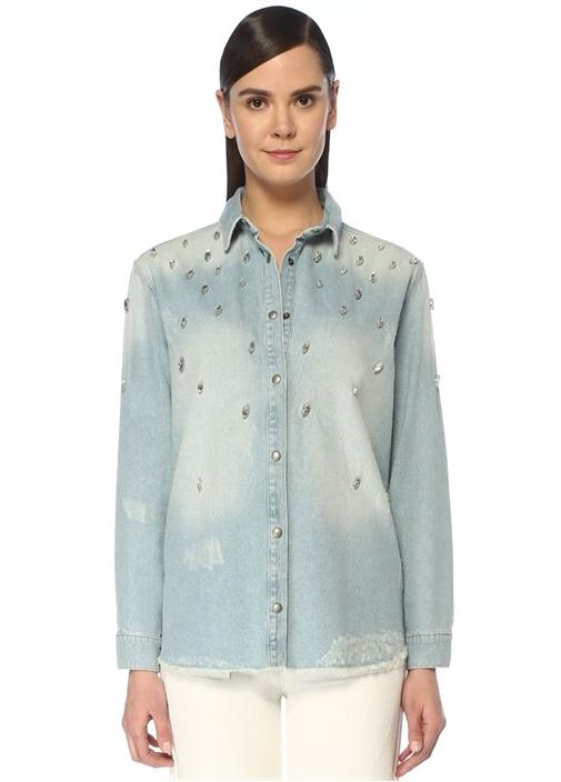 Taş İşlemeli Yıpratmalı Jean Gömlek