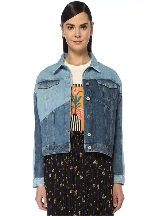Patchwork Detaylı Jean Ceket