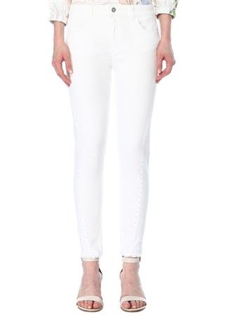 Beymen Club Kadın Beyaz Trok Detaylı Paçası Püsküllü Jean Pantolon 28 female