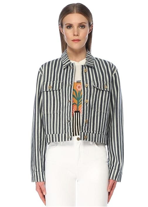 Mavi Çizgili Sırtı İşlemeli Crop Jean Ceket