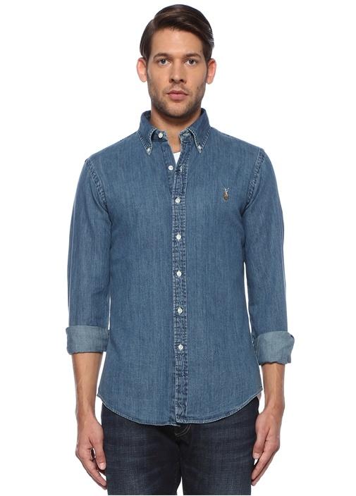 Slim Fit Mavi Logo Nakışlı Jean Gömlek