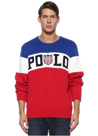 Polo Ralph Lauren Erkek Regular Fit Kırmızı Mavi Çizgili Logolu Kazak Lacivert EU male