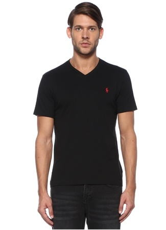 Polo Ralph Lauren Erkek Custom Slim Fit V Yaka Logolu Basic T-shirt Siyah EU male