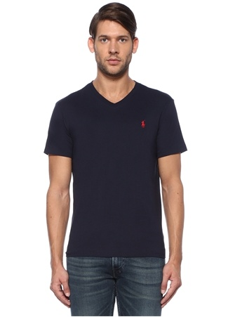 Polo Ralph Lauren Erkek Custom Slim Fit Lacivert V Yaka Basic T-shirt EU male