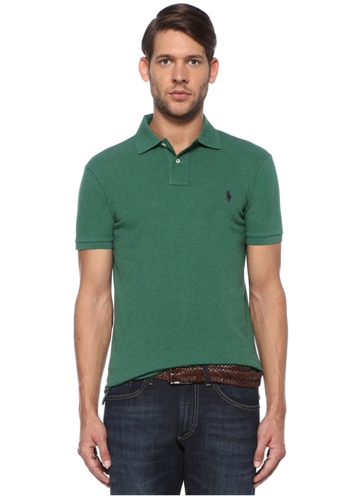 Slim Fit Yeşil Polo Yaka Pike Dokulu T-shirt