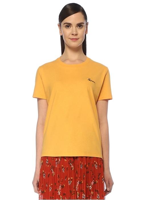 Sunshine Sarı Taş Baskılı Nakışlı T-shirt