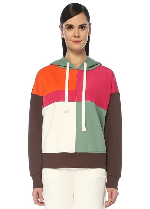 Oversize Kapüşonlu Colorblock Sweatshirt