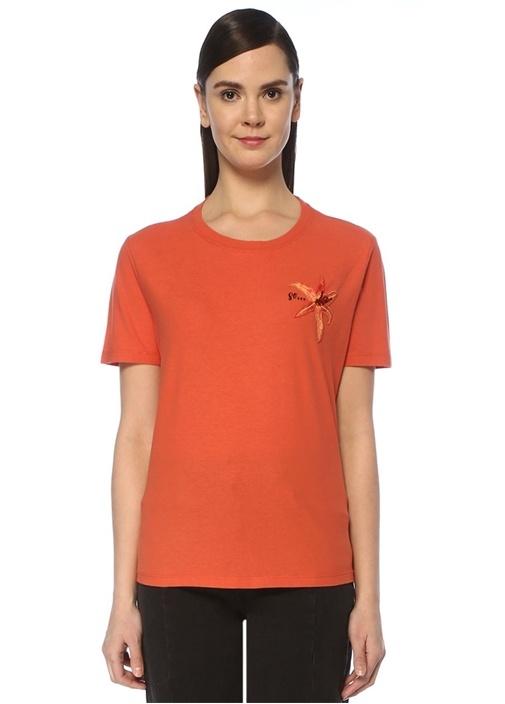 So Turuncu Çiçek Nakışlı İşlemeli T-shirt