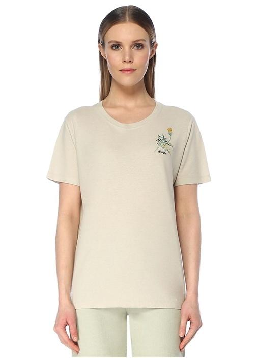 Bej Çiçek Nakışlı Basic T-shirt
