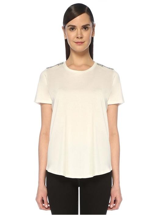 Beyaz Omzu Taşlı Zincir İşlemeli T-shirt