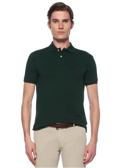 Slim Fit Yeşil Polo Yaka Dokulu Logolu T-shirt
