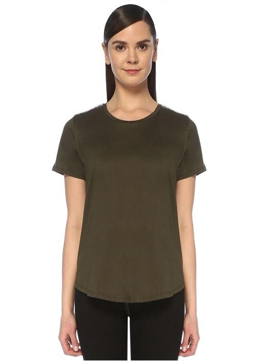 Haki Omzu Taşlı Zincir İşlemeli T-shirt