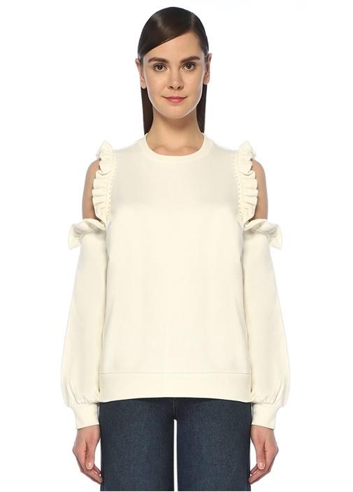 Ekru Omzu Açık İşlemeli Fırfırlı Sweatshirt