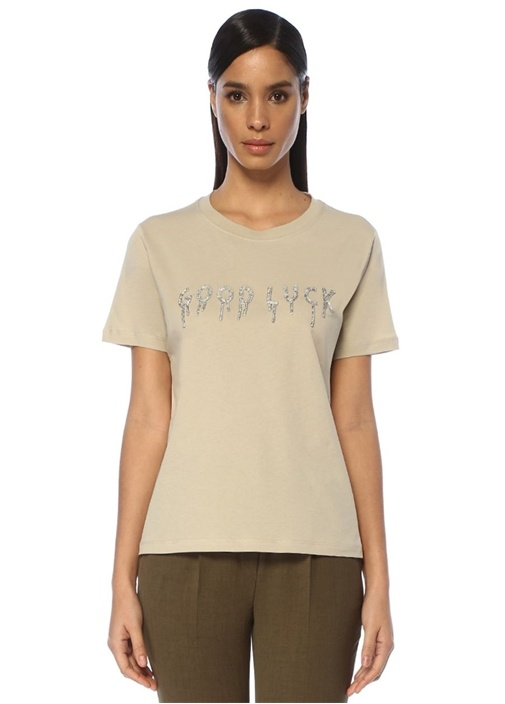 Bej Taşlı Slogan İşlemeli T-shirt
