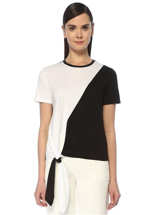Siyah Beyaz Bloklu Bağlama Detaylı T-shirt