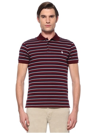 Polo Ralph Lauren Erkek Slim Fit Bordo Lacivert Yaka Çizgili T-shirt EU male