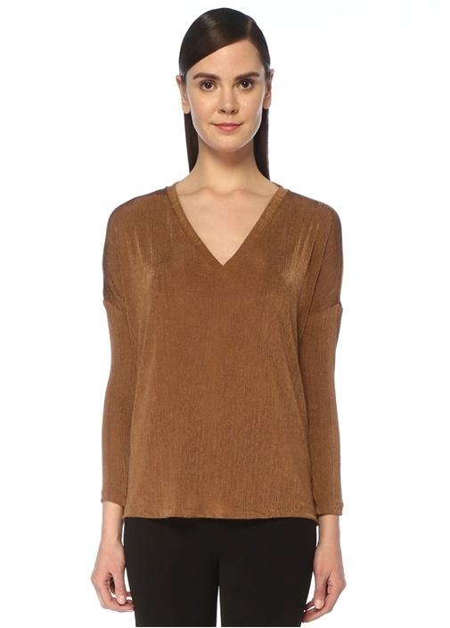 Kahverengi V Yaka Düşük Kol Dokulu T-shirt