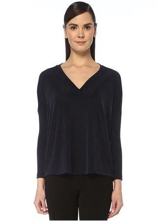 Beymen Club Kadın Lacivert V Yaka Çizgi Jakarlı Uzun Kollu T-shirt XL female