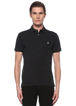 Polo Ralph Lauren Erkek Custom Slim Fit Siyah Dokulu Logolu T-shirt Gri EU male