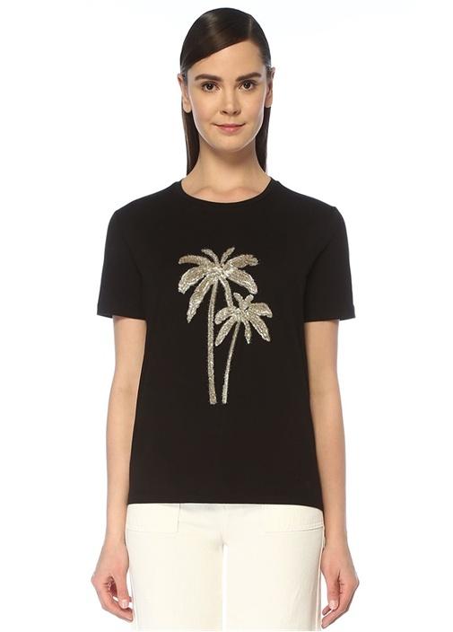 Siyah Önü Palmiye İşlemeli T-shirt