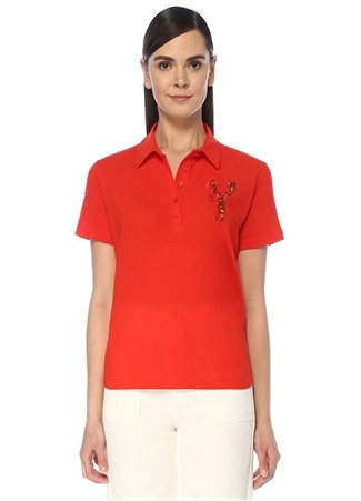 Beymen Club Kadın Mercan Polo Yaka İşlemeli Patch Detaylı T-shirt Kırmızı L female