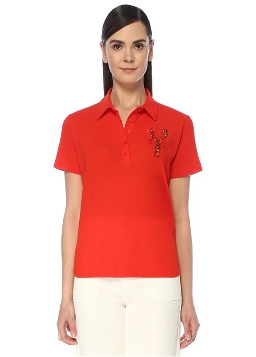 Mercan Polo Yaka İşlemeli Patch Detaylı T-shirt