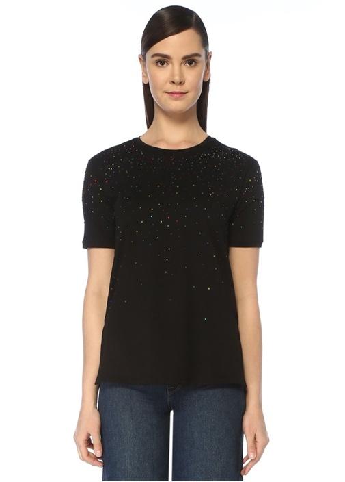 Siyah Renkli Taş Baskılı T-shirt