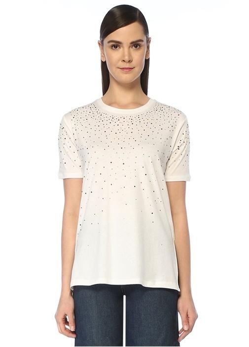 Beyaz Renkli Taş Baskılı T-shirt