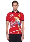 Custom Slim Fit Kırmızı Polo Yaka Baskılı T-shirt