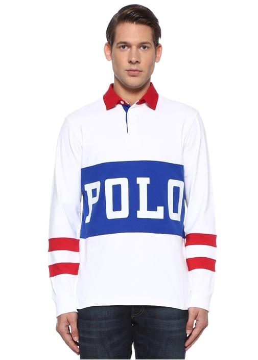 Classic Fit Beyaz Polo Yaka Logolu Sweatshirt