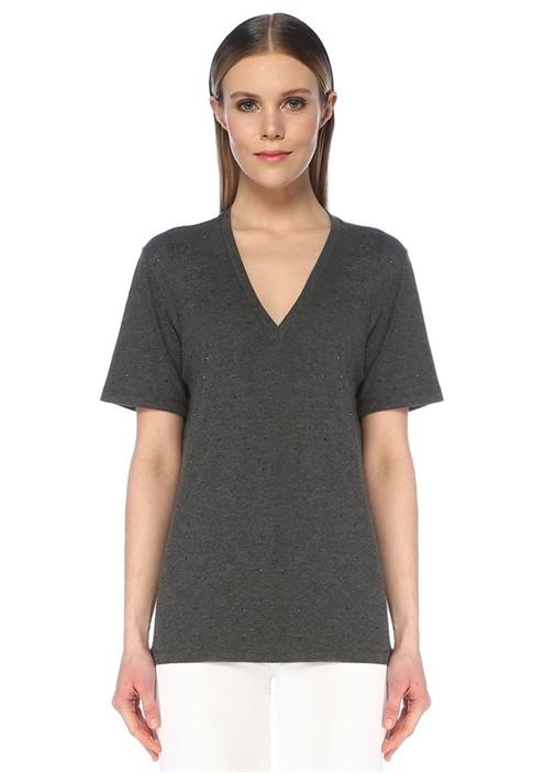 Gri Melanj Taş İşlemeli V Yaka Basic T-shirt