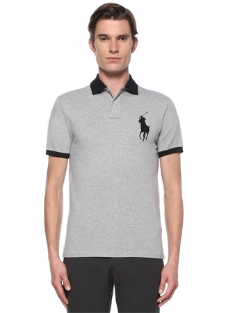 Polo Ralph Lauren Erkek Custom Slim Fit Gri Siyah Logolu T-shirt M EU male