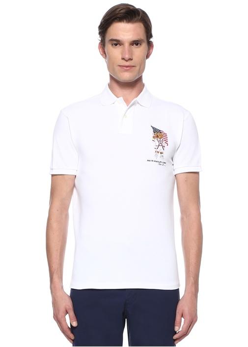 Custom Slim Fit Beyaz Polo Yaka Ayıcıklı T-shirt