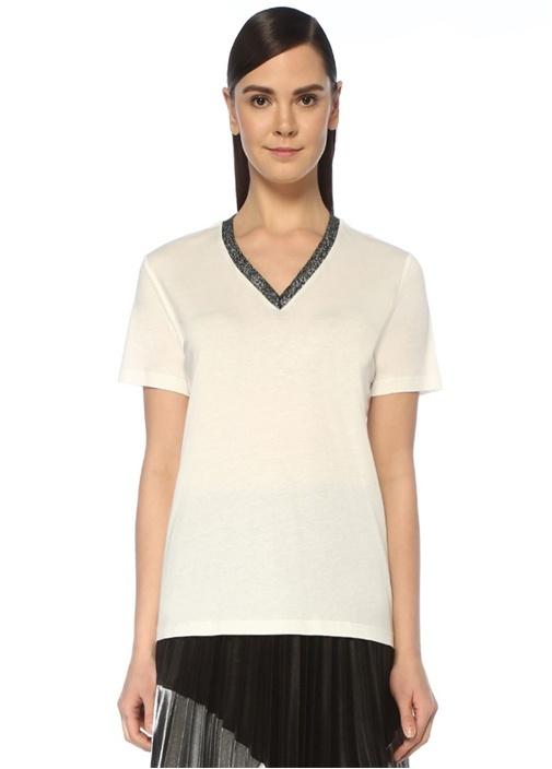 Beyaz V Yaka Simli Triko Bantlı T-shirt
