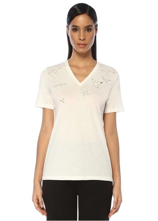 Beyaz V Yaka Simli Kuş Baskılı T-shirt