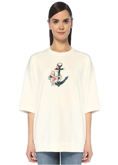 Beyaz İşlemeli Yanı Fermuarlı Kısa Kol Sweatshirt