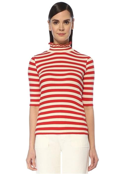 Kırmızı Dik Yaka Çizgili Kısa Kol Ribli T-shirt